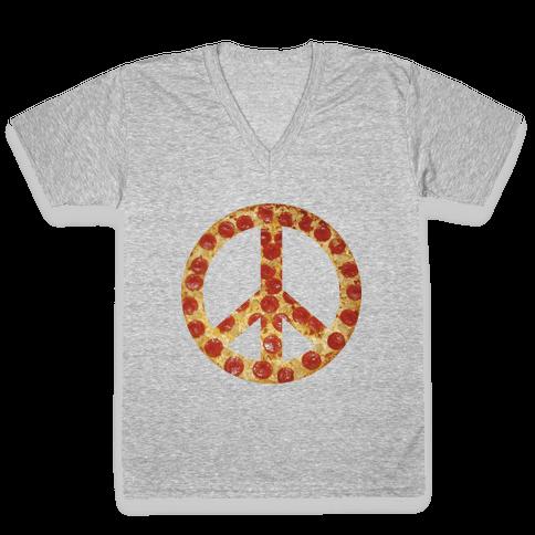 Peace Of Pizza V-Neck Tee Shirt