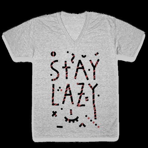 Stay Lazy V-Neck Tee Shirt
