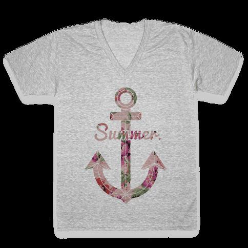 Summer Anchor V-Neck Tee Shirt