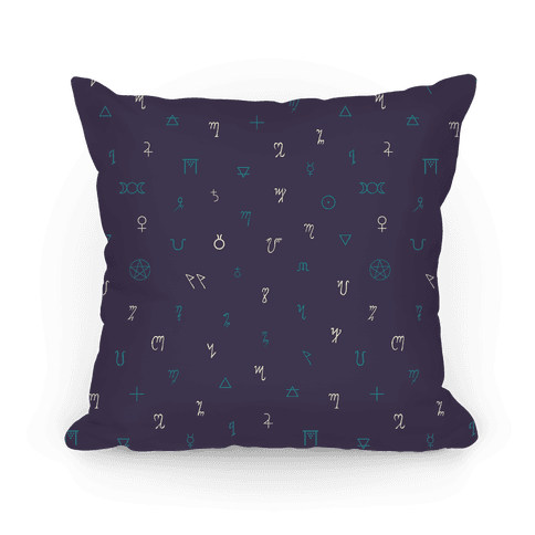 Wiccan Witchcraft Symbols (Purple) Pillow