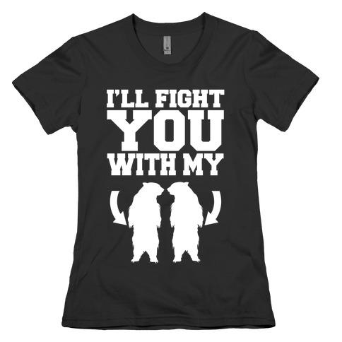 Bear Hand Fight Womens T-Shirt