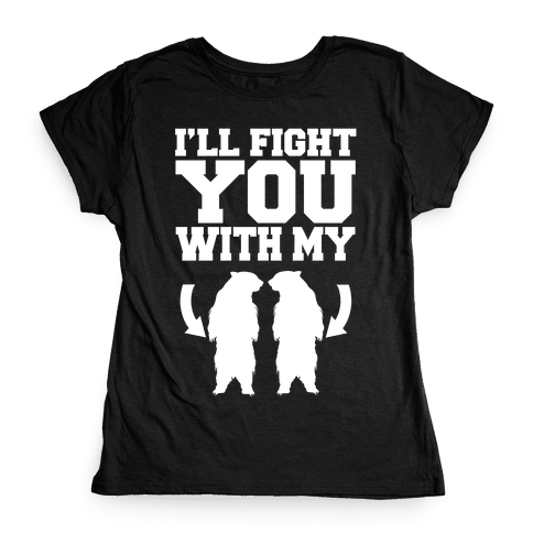 Bear Hand Fight Womens T-Shirt