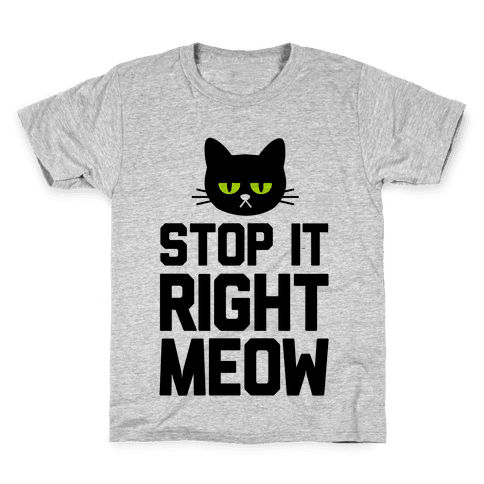 Stop it Right Meow Kids T-Shirt