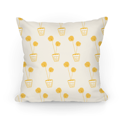 Yellow Poppy Pattern Pillow