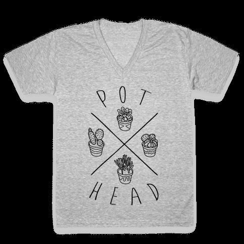 Pot Head Succulents V-Neck Tee Shirt
