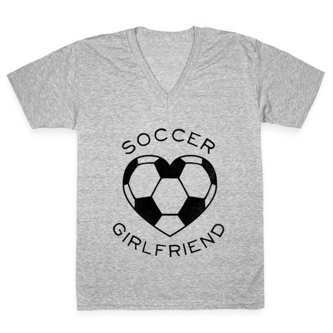 Soccer Girlfriend Baseball Tee V Neck Tee Lookhuman