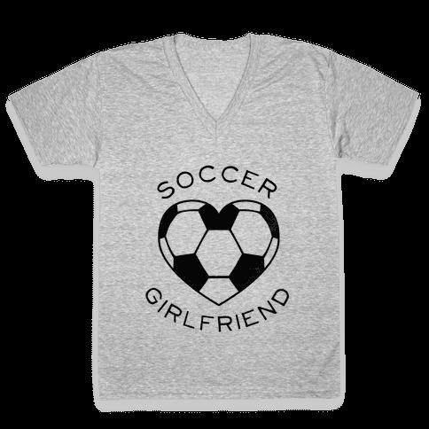 Soccer Girlfriend (Baseball Tee) V-Neck Tee Shirt