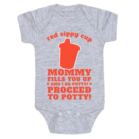 Red Sippy Cup, Proceed to Potty Baby Onesy