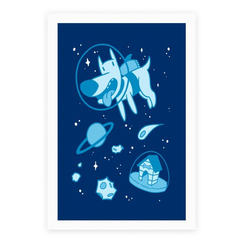 Blast Off Space Dog Poster