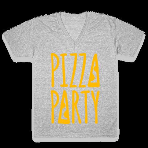 Pizza Party V-Neck Tee Shirt
