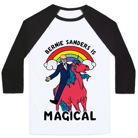 Bernie Sanders on a Magical Unicorn Baseball Tee