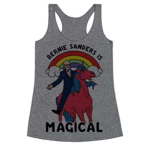 Bernie Sanders on a Magical Unicorn Racerback Tank Top