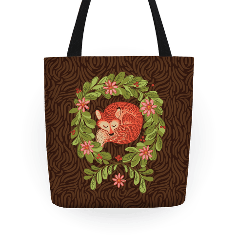Sleeping Fox Wreath Tote