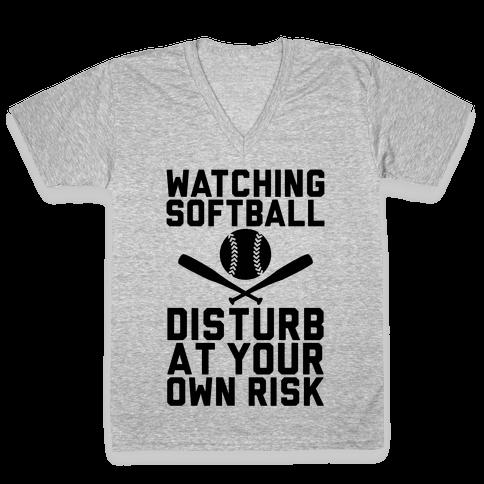 Watching Softball V-Neck Tee Shirt