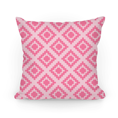 Pink Tribal Diamond Pattern Pillow