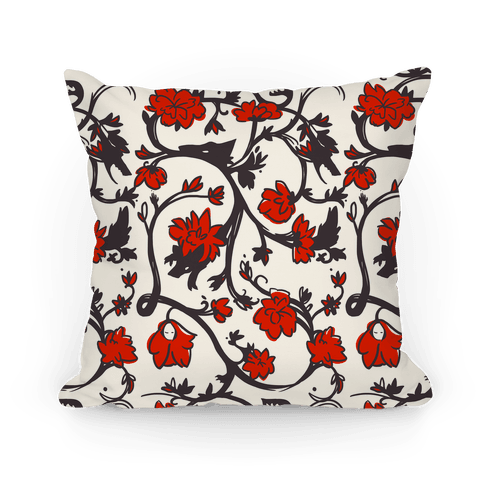 Little Red Riding Hood & Wolf Floral Pattern Pillow