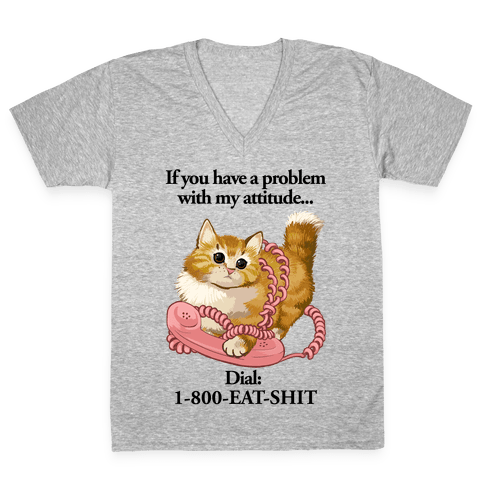 If You Have a Problem with My Attitude... V-Neck Tee Shirt