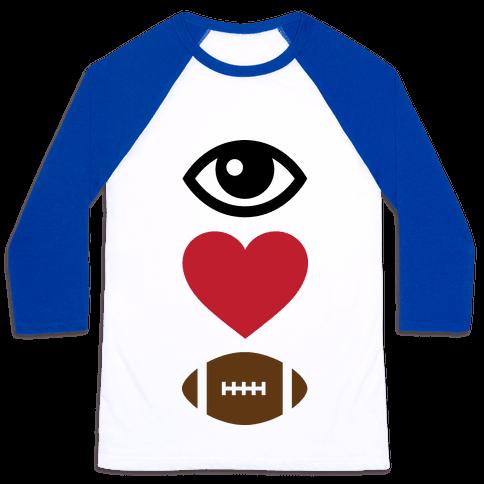 Eye Love Football Baseball Tee