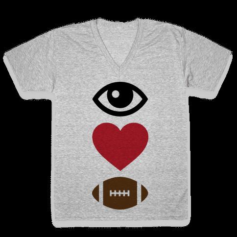 Eye Love Football V-Neck Tee Shirt