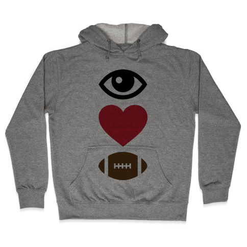 Eye Love Football Hooded Sweatshirt