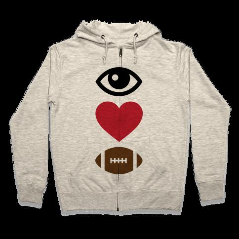 Eye Love Football Zip Hoodie