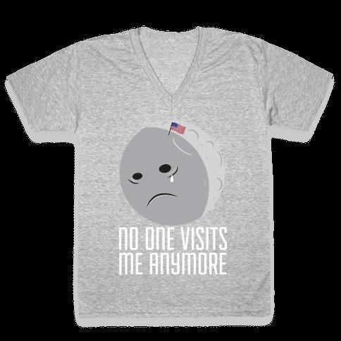 Sad Moon V-Neck Tee Shirt