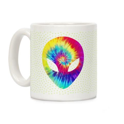 Tie Dye Alien Head Coffee Mug