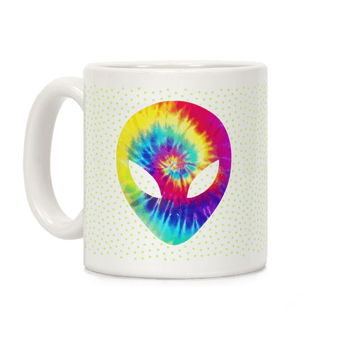 Tie Dye Alien Head Coffee Mug