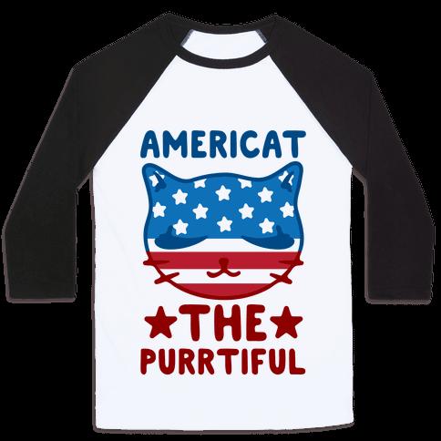 Americat The Purrtiful Baseball Tee