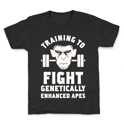 Training To Fight Genetically Enhanced Apes Kids T-Shirt