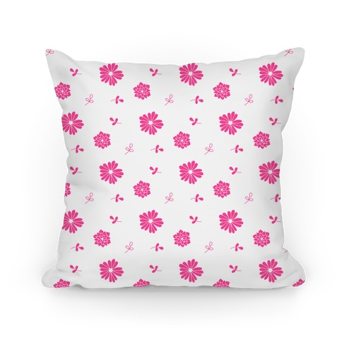 Pink and White Floral Tossed Pattern Pillow