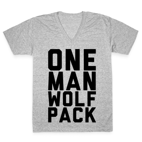 One Man Wolf Pack V-Neck Tee Shirt