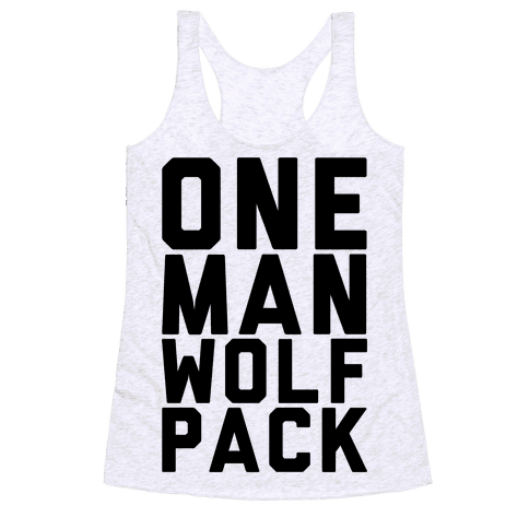 One Man Wolf Pack Racerback Tank Top