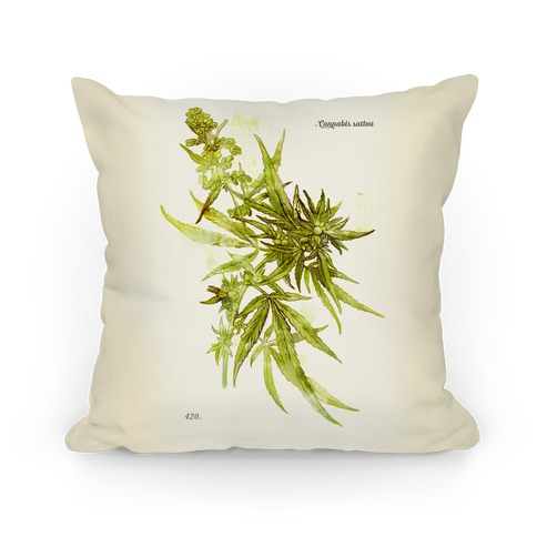 Cannabis Botanical Illustration Pillow