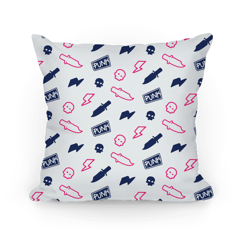Navy and Pink Rebel Punk Pattern Pillow