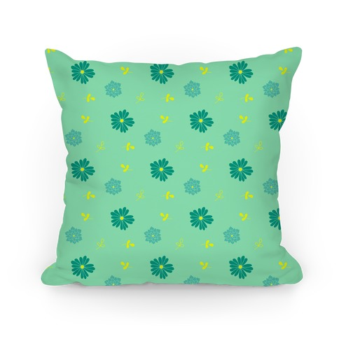 Green Floral Tossed Pattern Pillow
