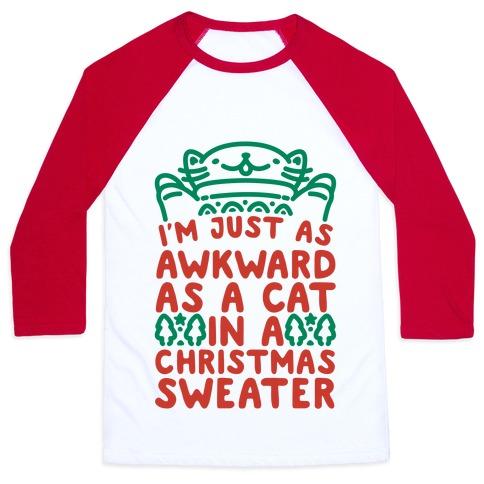 Awkward As A Cat In A Christmas Sweater Baseball Tee