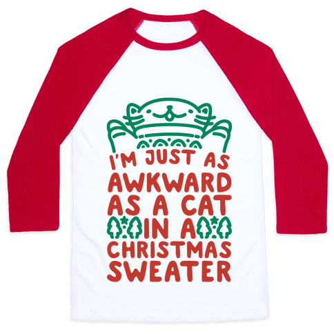 Awkward As A Cat In A Christmas Sweater Baseball Tee