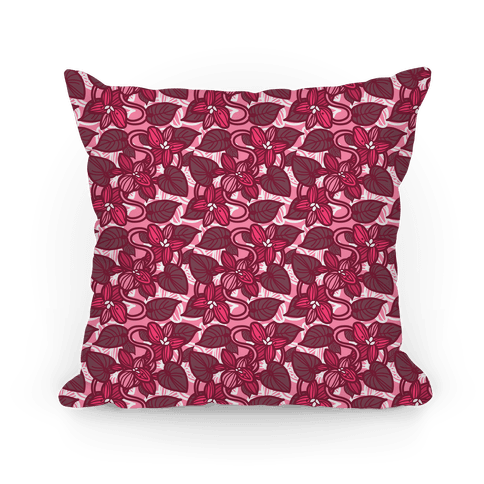 Pink Violet Floral Pattern Pillow (Vine) Pillow