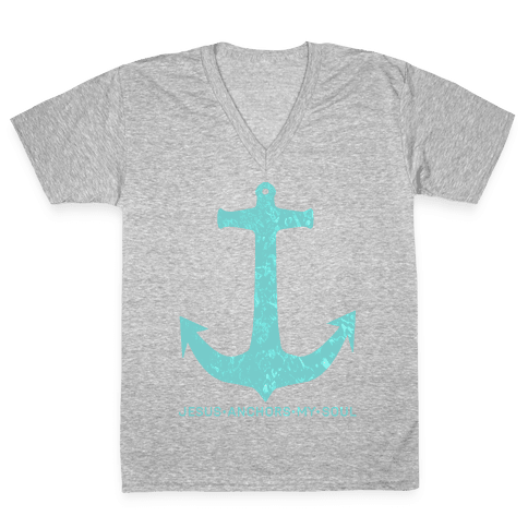 Jesus Anchors My Soul V-Neck Tee Shirt