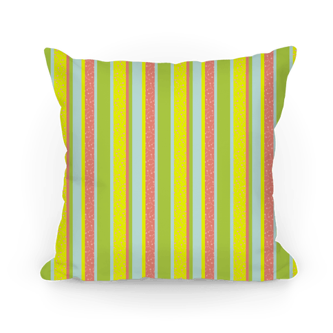 Spring Floral Stripes (Yellow and Pink) Pillow