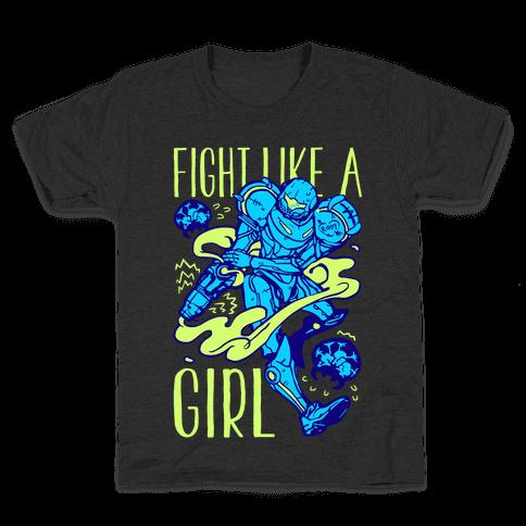 Fight Like A Girl Samus Parody Kids T-Shirt