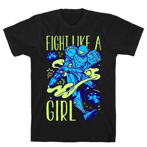 Fight Like A Girl Samus Parody T-Shirt