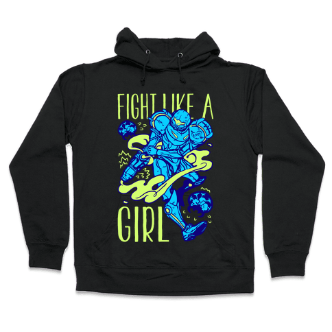 Fight Like A Girl Samus Parody Hooded Sweatshirt