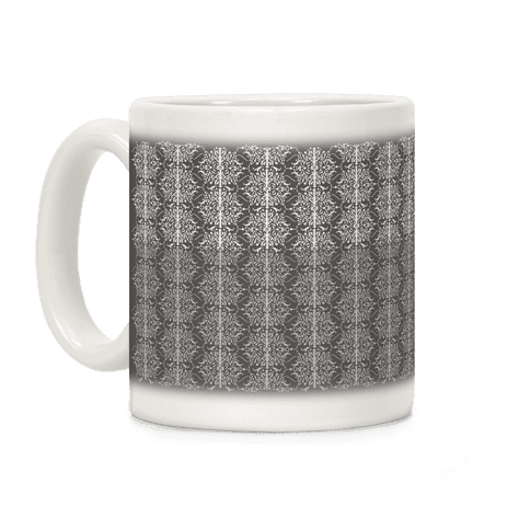 Gray and White Medieval Ombre Pattern Coffee Mug