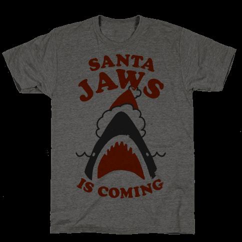 Santa Jaws Is Coming Mens T-Shirt
