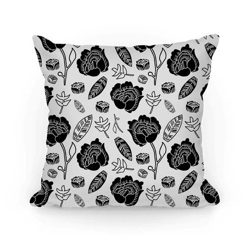 Floral and Leaves Pattern (Gray) Pillow