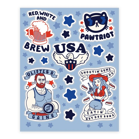 Patriotic Party Sticker and Decal Sheet
