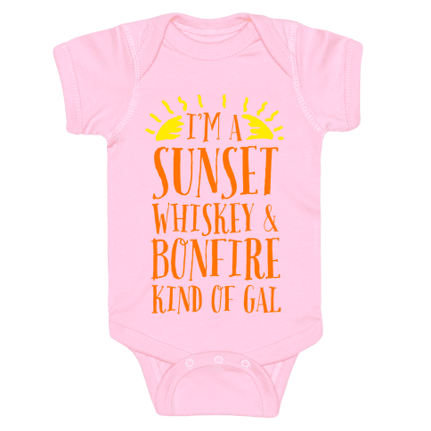 I'm a Sunset, Whiskey, and Bonfire Kind of Gal Baby Onesy