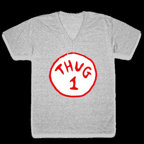 Thug 1 (black) V-Neck Tee Shirt